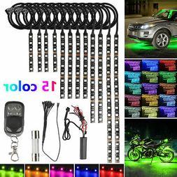 12Pcs Motorcycle RGB 120LED Waterproof Under Glow Lights Str