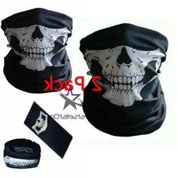 2 PCS Mouth Cover Face Mask Motorcycle Balaclava Neck Skull