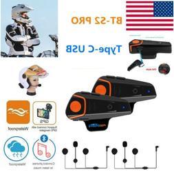 2pcs BT-S2 Intercom Motorcycle Bluetooth Headset 3 Riders Mo