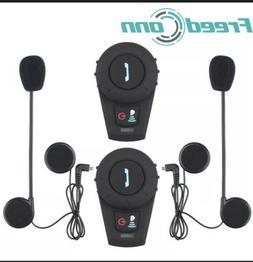 2x 2Way Radio Intercom Motorcycle Helmet Bluetoot Headset 50