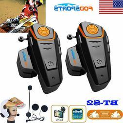 2x BT-S2 1000M Intercom Motorcycle Bluetooth Headset Moto He