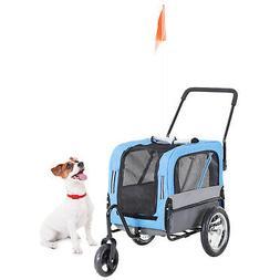 2-in-1 Pet Bike Trailer Jogging Stroller for Pets 3 Wheeled