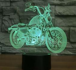 3D Motorcycle Illusion LED Table Desk Light USB 7 Color Chan