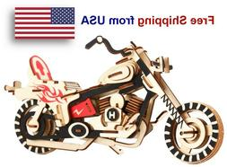 3D Wooden Puzzle Motorcycle Model DIY Educational Toy Great
