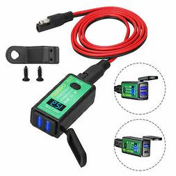4.8A Motorcycle SAE to USB Cable Adapter Dual USB+PD GPS Pho