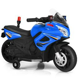 6V Kids Ride On Police Motorcycle 4-Wheel Electric Toy w/Tra