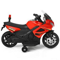 6V Kids Ride  Police Motorcycle 4-Wheel Electric Toy w/ Trai