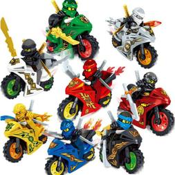 8PCS Ninjago Motorcycle Set Minifigures Ninja Mini Figures F