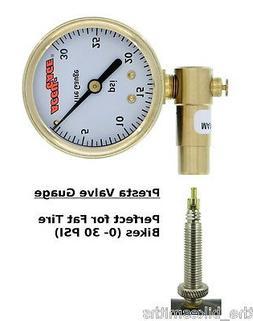 Meiser Accu-Gauge 0-30psi PRESTA Valve Low PSI Tire Gauge Di