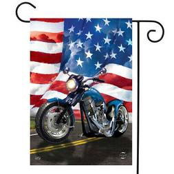 "American Motorcycle Patriotic Garden Flag Summer Bike 12.5"""