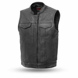 Anarchist Biker Club Leather vest with Gun pockets one piece