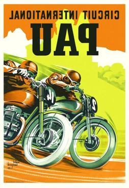art decor  French Motorcycle Poster 1950s Pau Retro Triumph