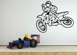 Biker Bike Race Wheels Car Boys Room Wall Sticker Vinyl Deca