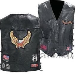 Black Leather Motorcycle Riding Vest with Eagle/Biker Patche