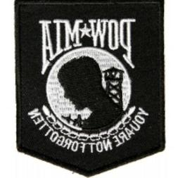 Black POW MIA Biker Patch Motorcycle Jacket Vest Military Ir