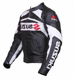 Black White Suzuki RGSX Genuine Cowhide Leather Racing Motor