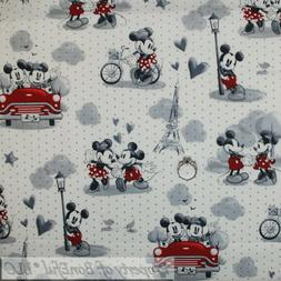 BonEful FABRIC FQ Cotton Quilt VTG White Black B&W Mickey Mi
