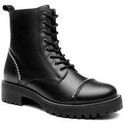Cestfini Black Combat Motorcycle Boots for Women | Genuine L