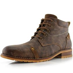 Men's Classic Leather Suede Brogue Mid-Top Lace Up Zip Hikin