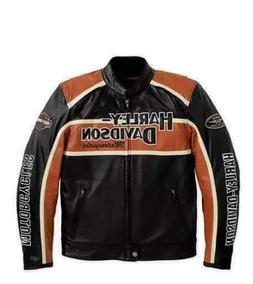 Custom Made Black – Orange Leather Jacket With Harley Davi
