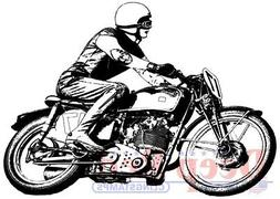 Deep Red Rubber Cling Stamp Motorcycle Racer Biker with Helm