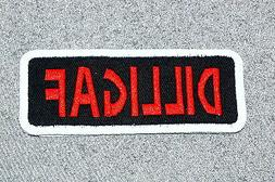 DILLIGAF Biker Vest Motorcycle Patch Red and White