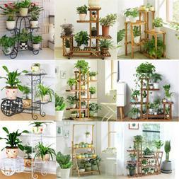 Garden Multi Tier Pine Wood Metal Bamboo Plant Stand Flower