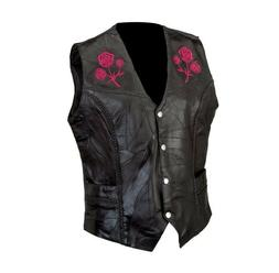Genuine Black Leather Ladies Vest Embroidered Rose Motorcycl