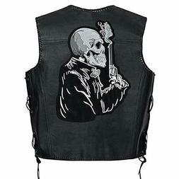 gun man large biker motorcycle back patches