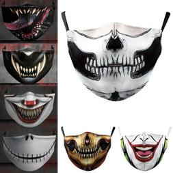 Halloween Skull bike Motorcycle Face Mask Reusable Washable