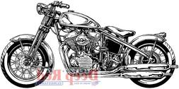 Deep Red Stamps Hardtail Motorcycle Rubber Cling Stamp