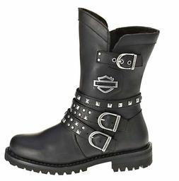 HARLEY-DAVIDSON FOOTWEAR Women's Adrian Black Leather Motorc