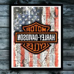 Harley Davidson Vintage Dictionary Art Print American Motorc
