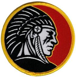 INDIAN CHIEF HEADDRESS EMBLEM PATCH IRON-ON EMBROIDERED RED