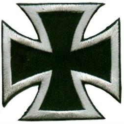 IRON CROSS PATCH EMBROIDERED SILVER ON BLACK BIKER CHOPPER M