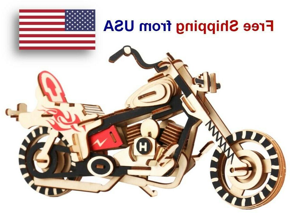 3d wooden puzzle motorcycle model diy educational