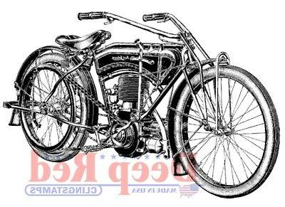 Deep Red Cling Stamp-Early Motorcycle