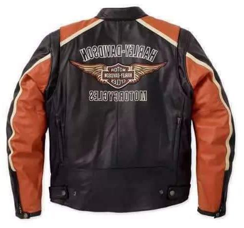 Custom Made – Orange Leather Jacket Harley Men
