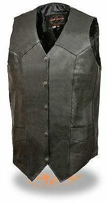 Men's TALL Classic Leather Motorcycle Vest Great for Patches