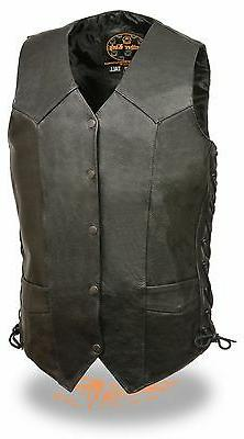"""Men's """"TALL"""" Classic Side Lace Leather Motorcycle Vest Great"""