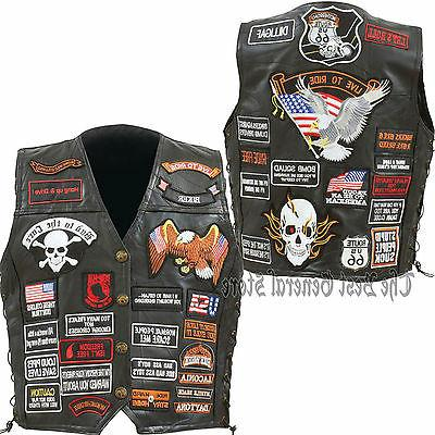 mens black leather motorcycle vest with 42