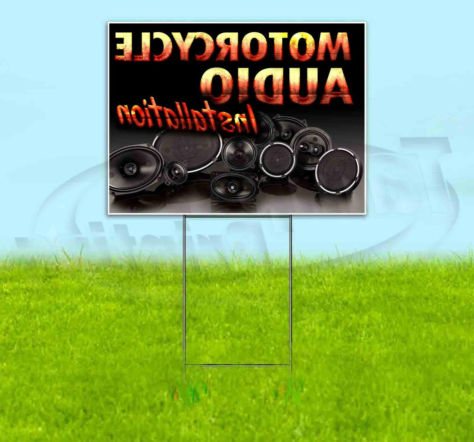 motorcycle audio installation 18x24 yard sign