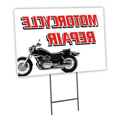 motorcycle repair yard sign and stake outdoor