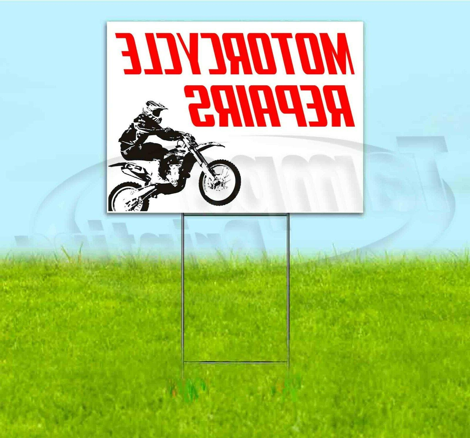 motorcycle repairs 18x24 yard sign with stake