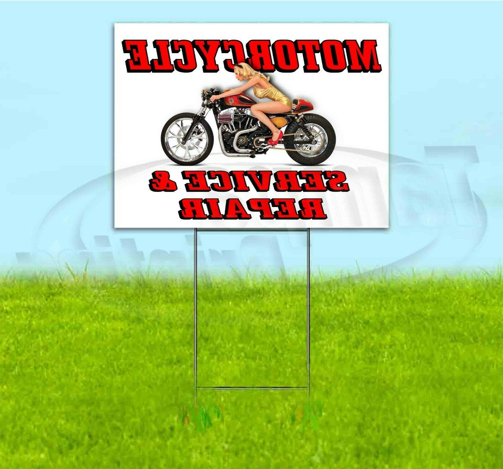 motorcycle service and repair 18x24 yard sign
