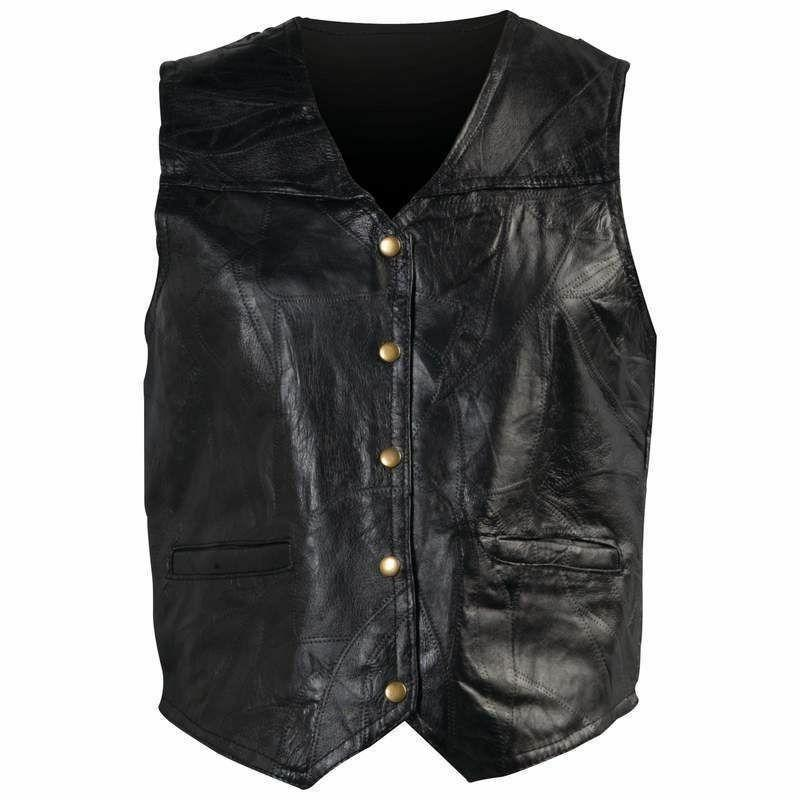 new mens genuine leather motorcycle biker vest