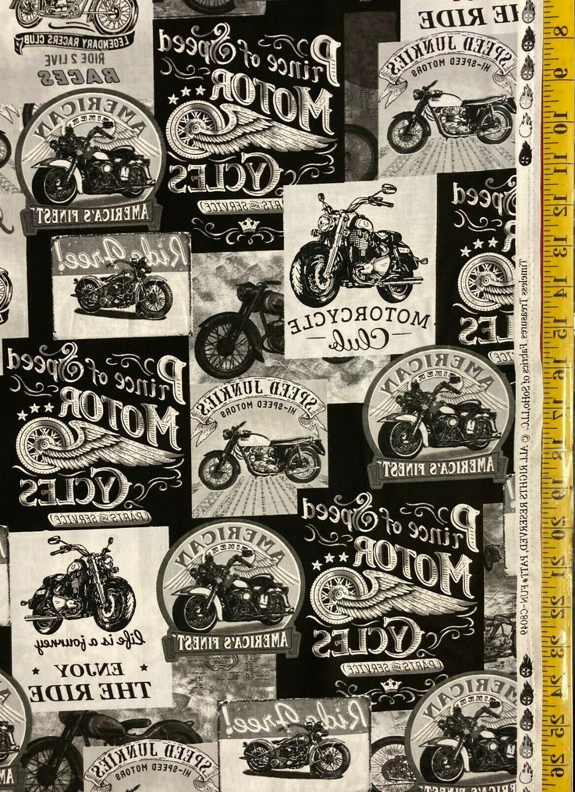 packed motorcycle signs grey fabric fun c8049