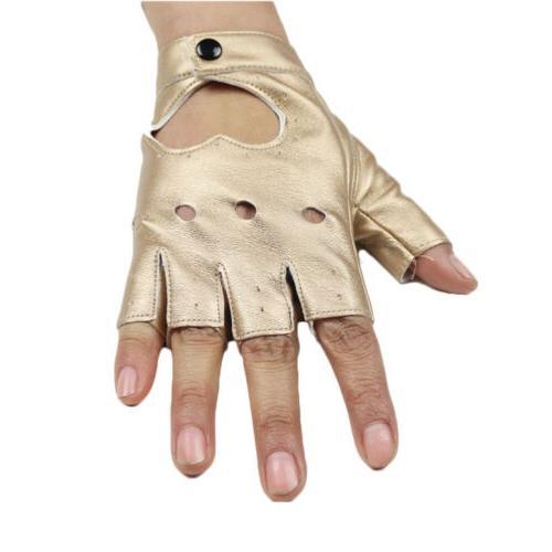 Women Punk Gloves Leather Half Finger
