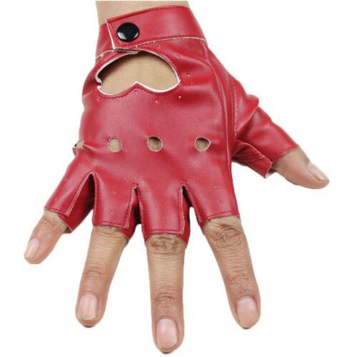 Women Short Leather Gloves Half Dance Motorcycle Gloves