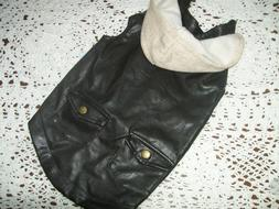 LEATHER Hoodie BIKER Jacket Pet Dog Wag-a -tude S Small new